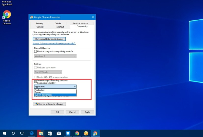 Windows 10 System Enhanced option for better scaling