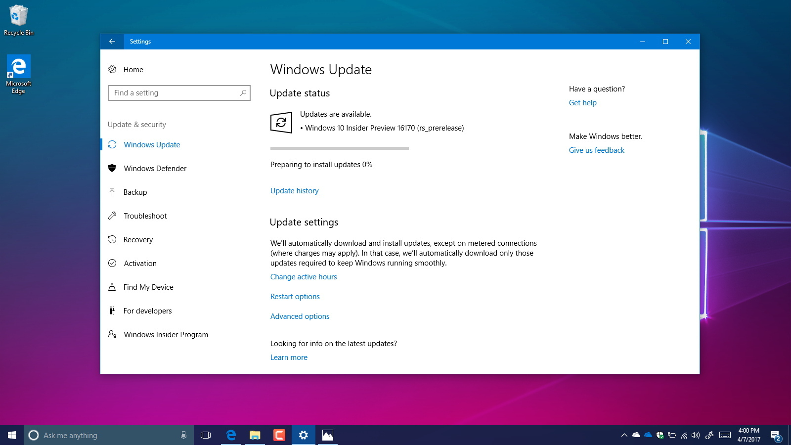 Windows 10 build 16170