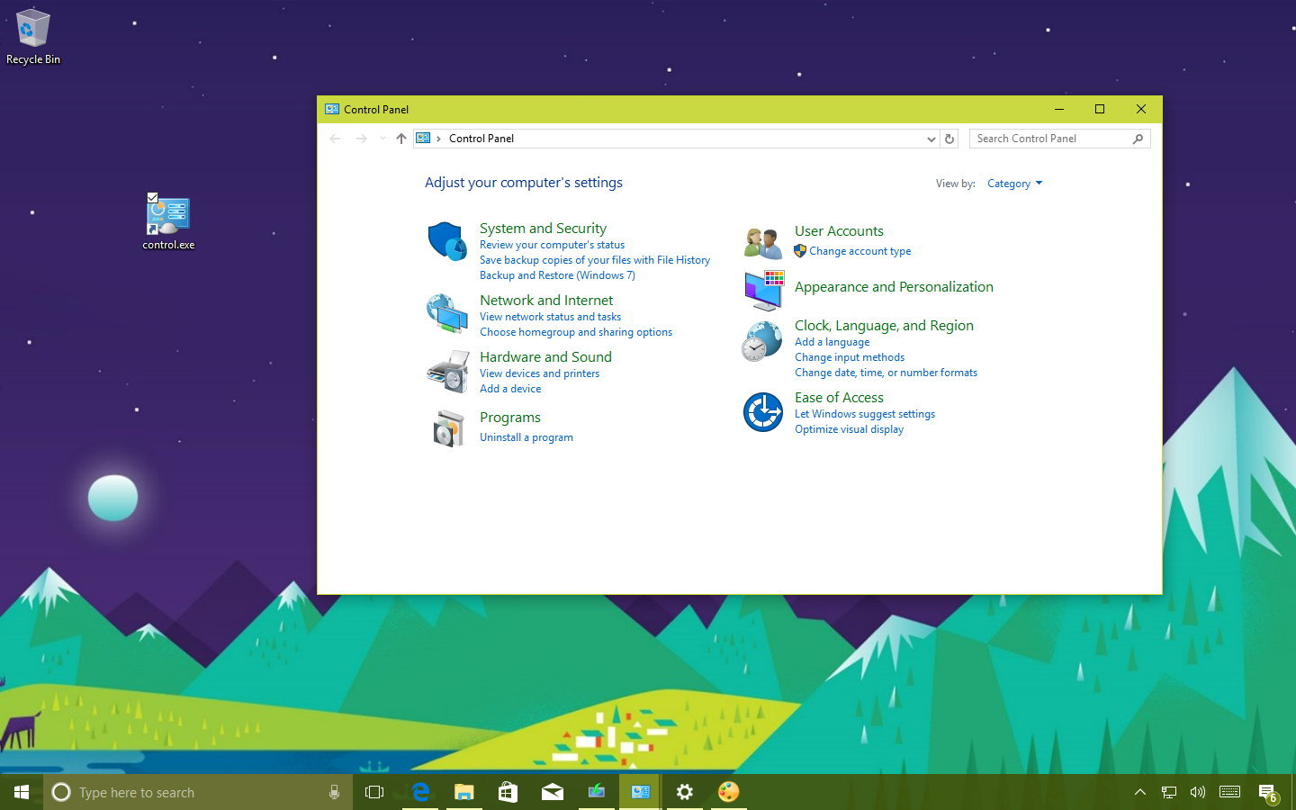 how to go to control panel in windows 10