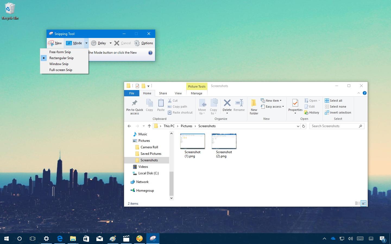 Take screenshots on Windows 10