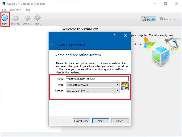 Create new virtual machine for Windows 10