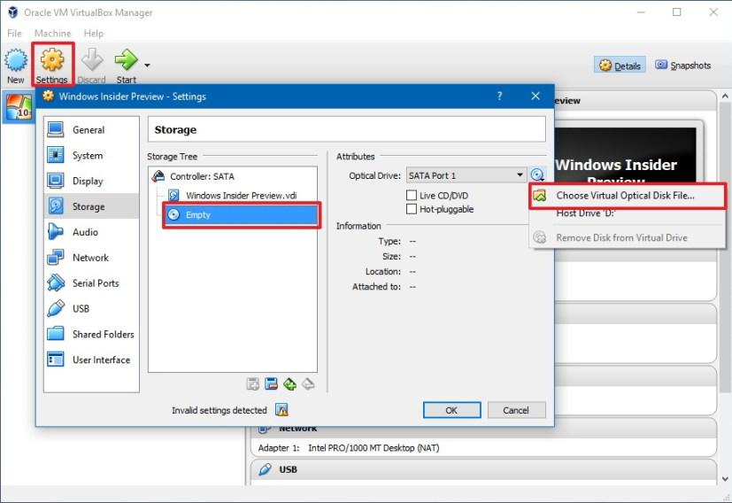 VirtualBox Windows 10 virtual machine settings