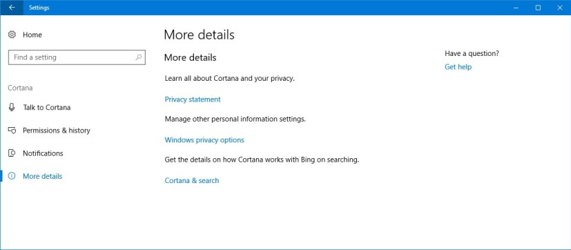 Cortana More details settings