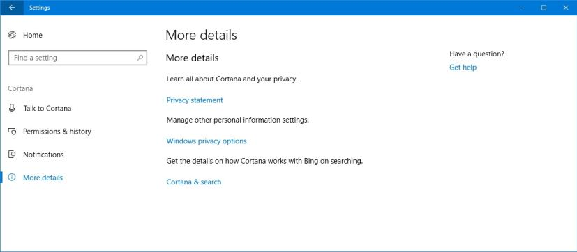 Cortana More details settings