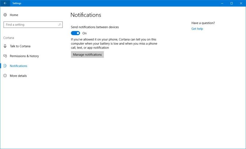 Cortana Notifications settings
