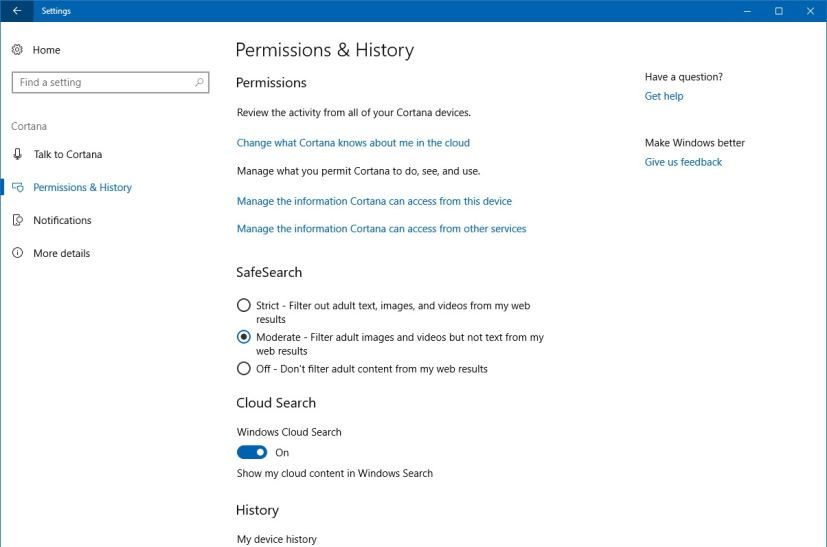 Cortana Permissions & History settings