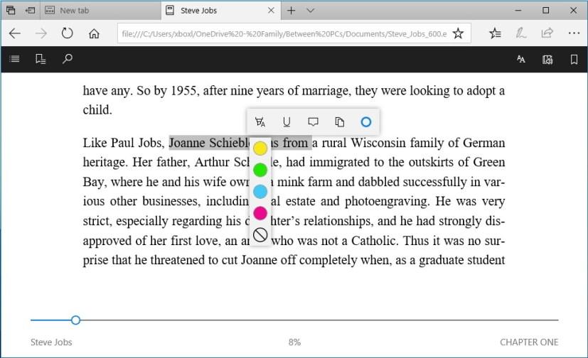 Microsoft Edge epub annotation