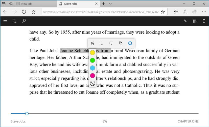 Microsoft Edge epub annotation