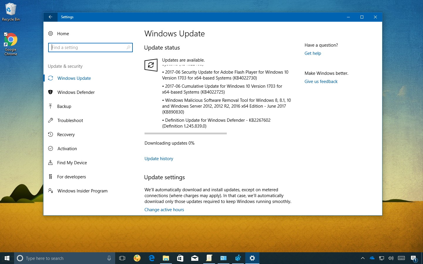 KB4022725 update for Windows 10