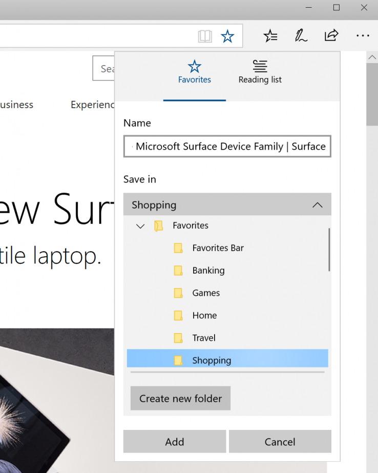 Microsoft Edge new Favorites experience