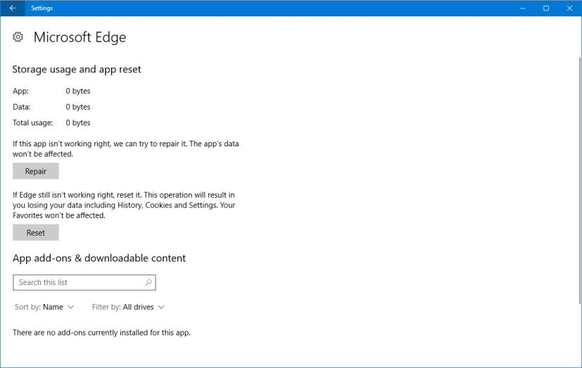 Microsoft Edge reset and repair options