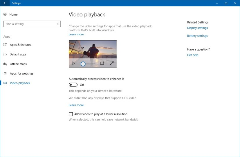 Video Playback settings