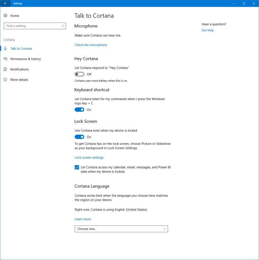 Talk to Cortana settings on Windows 10
