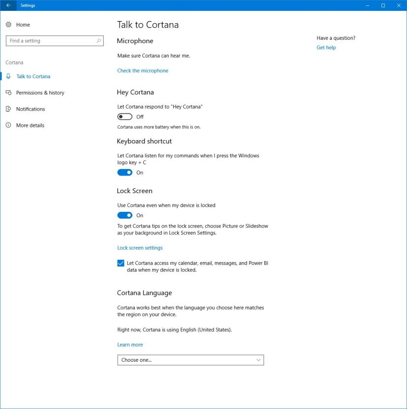 Talk to Cortana settings on Windows 10
