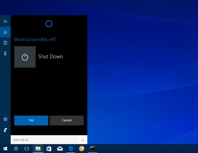Cortana turn off PC voice command