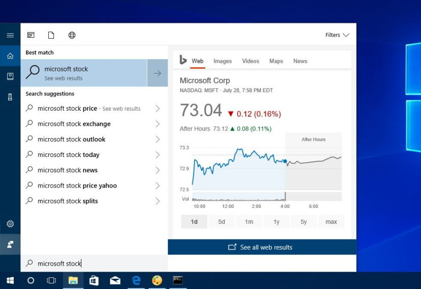 Cortana with right pane expanded showing web results