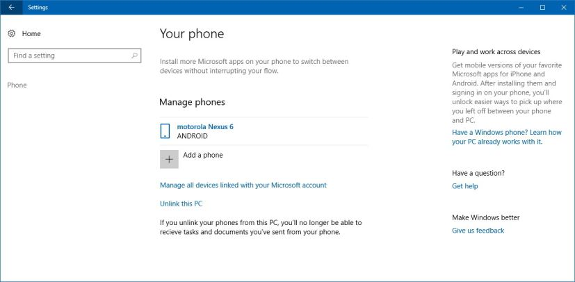 Phone to PC link settings on Windows 10 Fall Creators Update