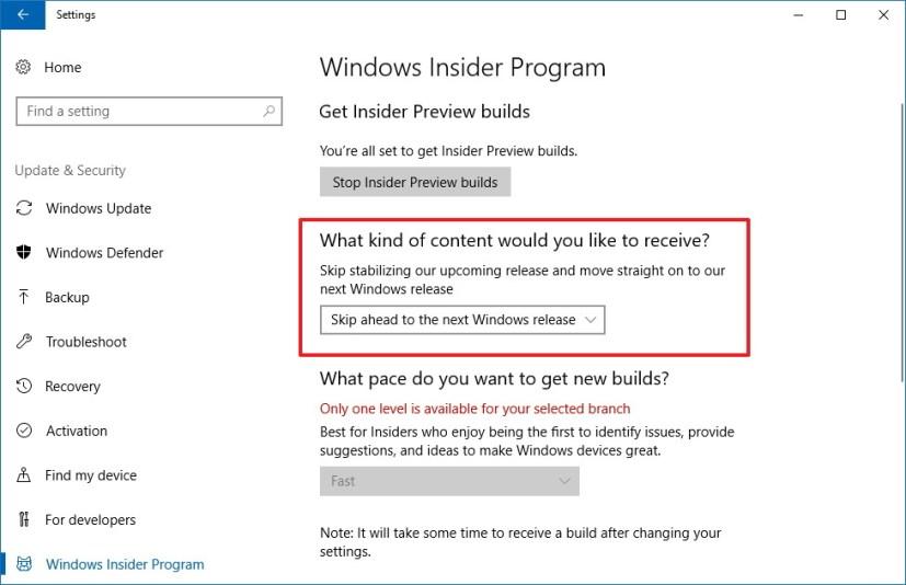 Windows Insider Program skip ahead settings