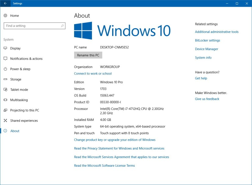Windows 10 About settings