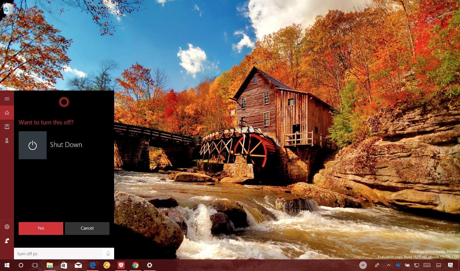 Cortana shutdown PC command on Windows 10
