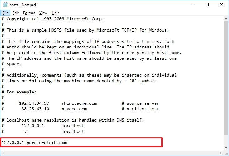 Hosts file on Windows 10