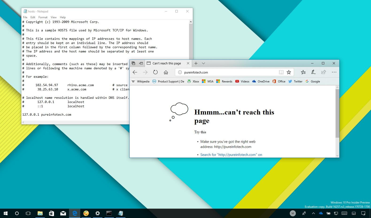 Edit hosts file on Windows 10