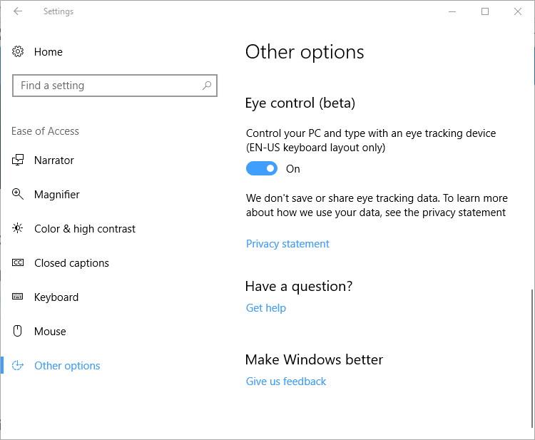 Eye Control on Windows 10