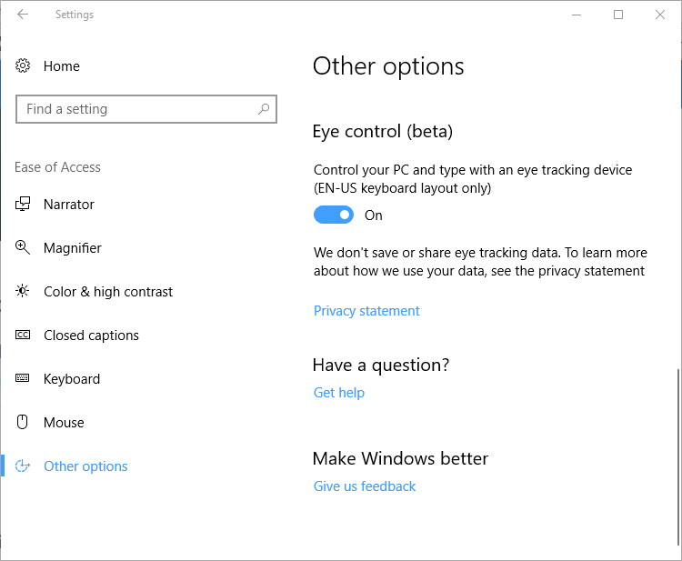 Eye Control on Windows 10