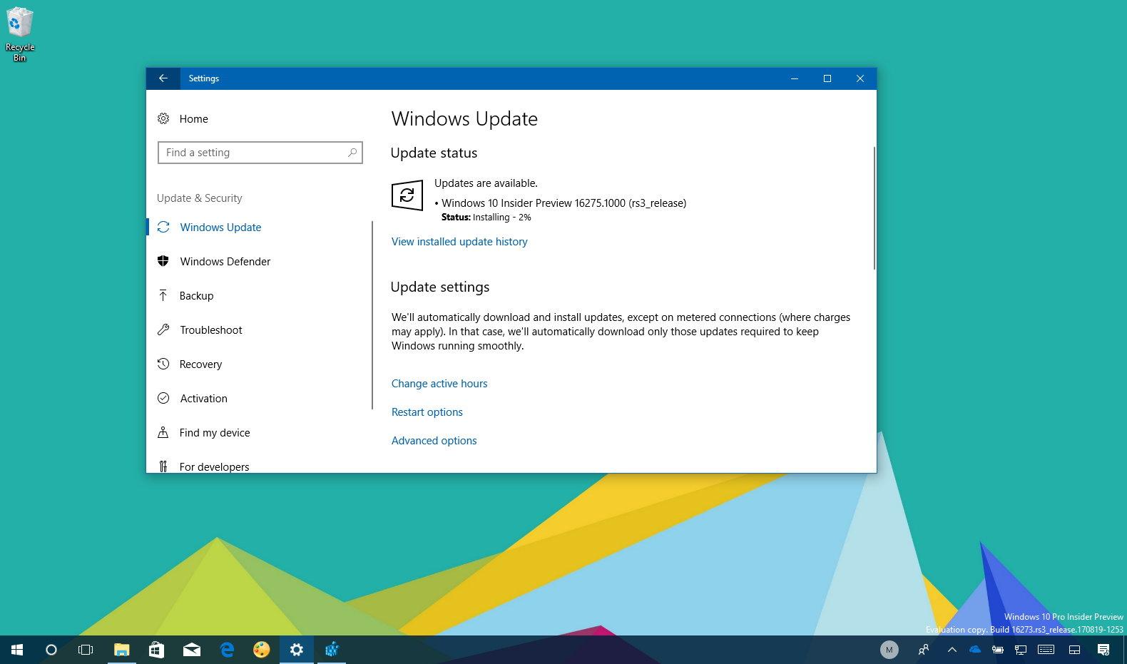Windows 10 build 16275