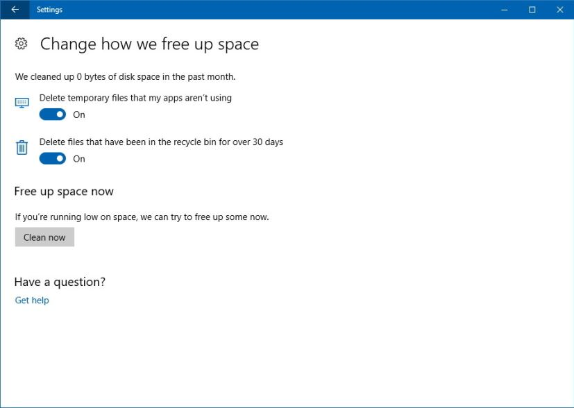 Free up space on Windows 10 settings