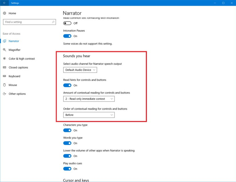 Narrator settings Windows 10 build 16362