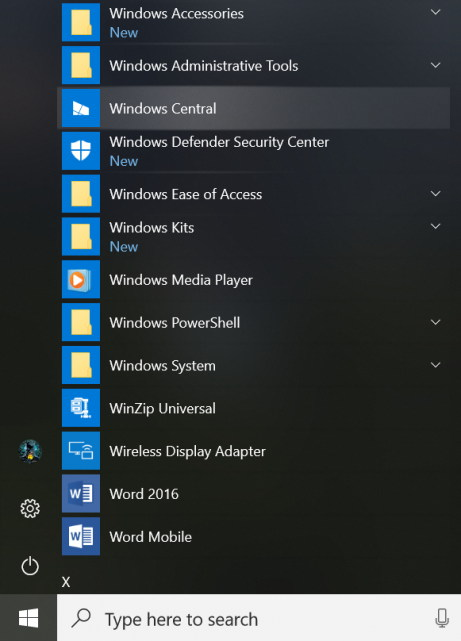 Start menu with Reveal highlight