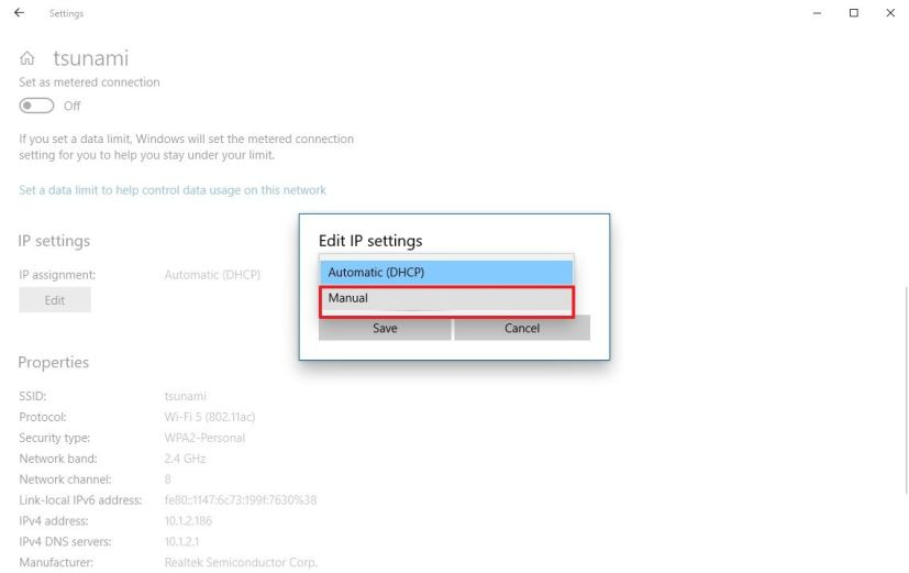 Wi-Fi static IP option