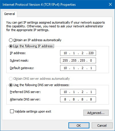 set manual ip windows 10