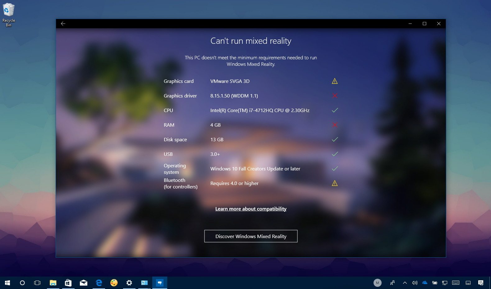 Windows Mixed Reality PC check app