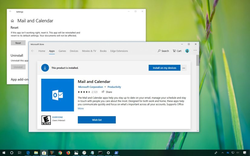 Reset Mail and Calendar on Windows 10