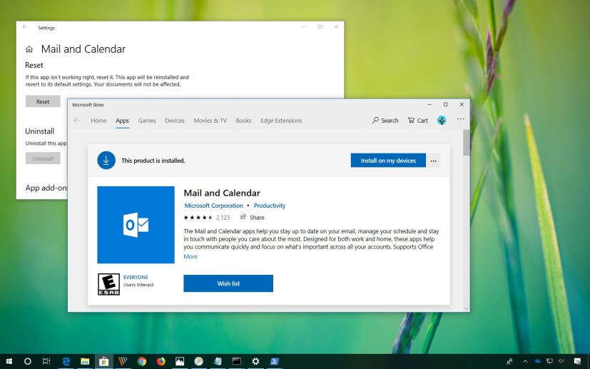 calendar windows 10 not working