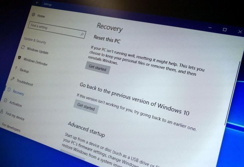 Uninstall the Windows 10 Fall Creators Update