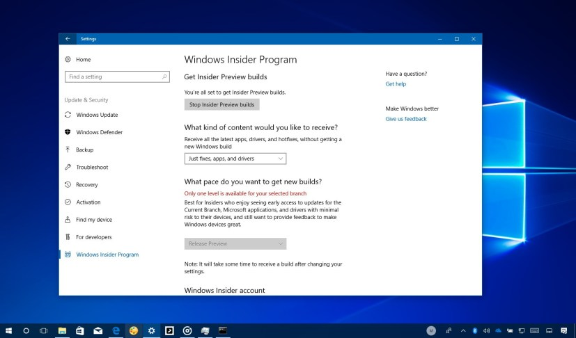 Windows 10 Fall Creators Update Release Preview
