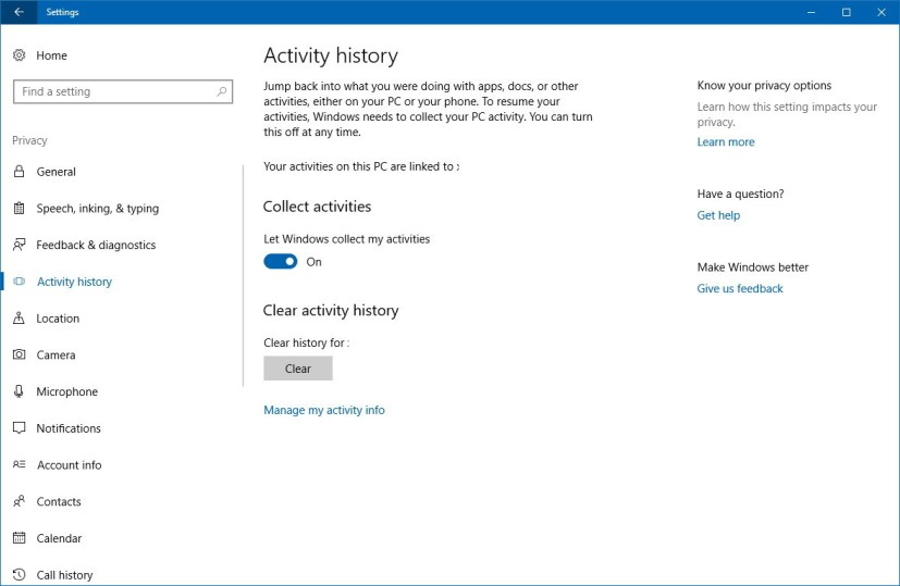 Privacy Activity history settings