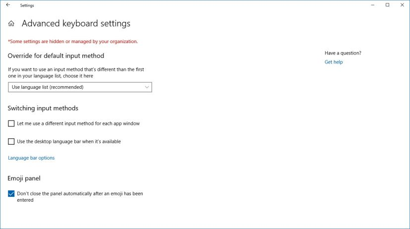 Advanced keyboard settings