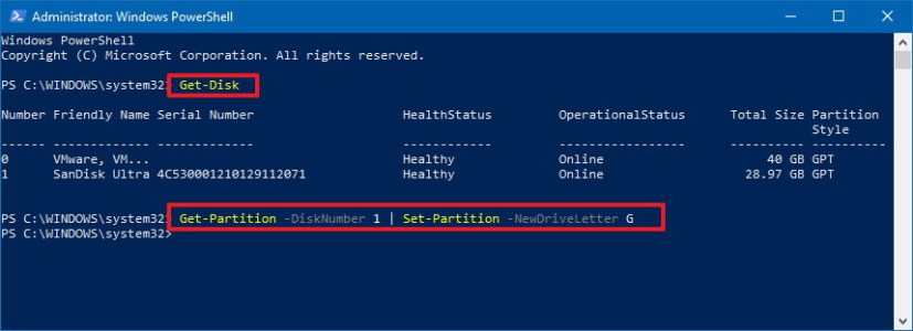 Change drive letter using PowerShell