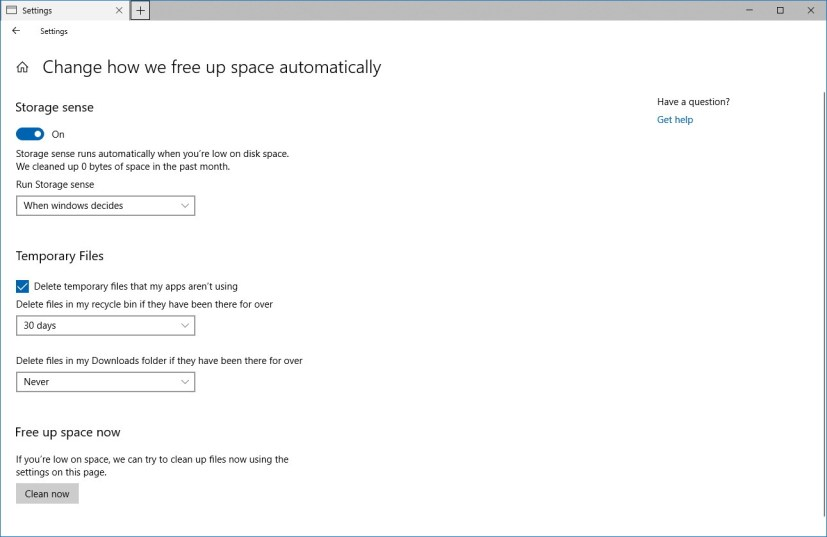 Change how we free up space automatically settings