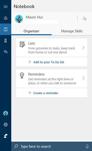 Cortana's Notebook on version 1803