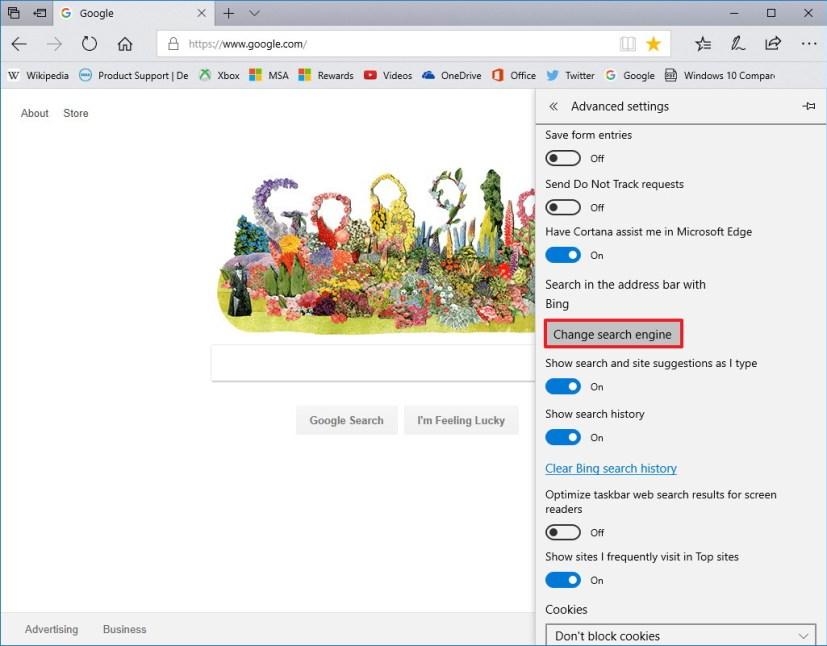 Microsoft Edge Advanced settings options