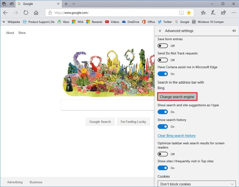 using chrome browser how to you change the search settings