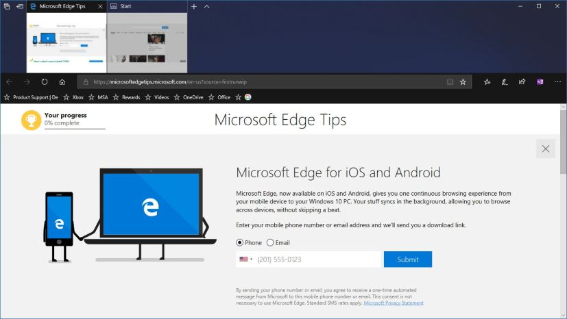 Microsoft Edge dark theme on version 1803