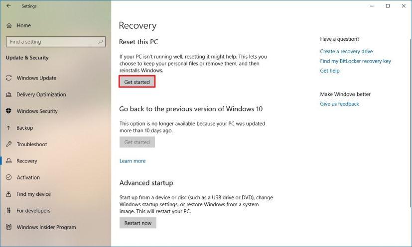 Reset this PC on Windows 10 version 1809