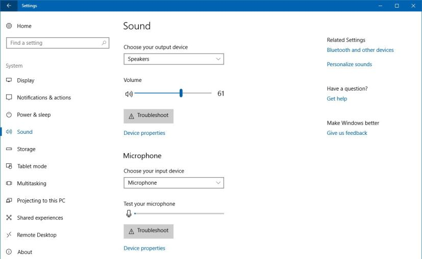 Sound settings Windows 10 version 1803