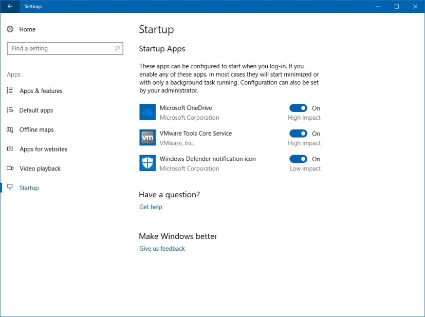 Startup apps settings page on Windows 10 version 1803